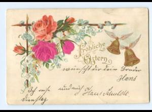 Y6342/ Ostern - Blüten aus Seide Litho Prägedruck 1901