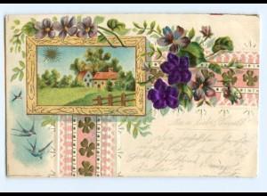 Y6341/ Blumen, Schwalben - Blüten aus Seide Litho Prägedruck 1902