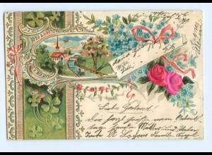 Y6340/ Blüten aus Seide Litho Prägedruck 1902
