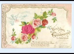 Y6339/ Geburtstag - Blüten aus Seide Litho Prägedruck 1907