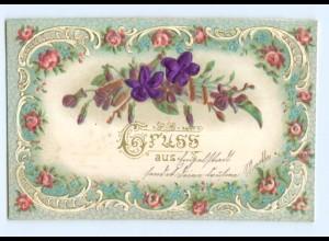 Y6338/ Blumen - Blüten aus Seide Litho Prägedruck 1907