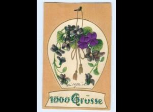 Y6337/ 1000 Grüße - Blüten aus Seide Litho Prägedruck 1907