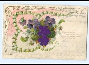 Y6336/ Blumen - Blüten aus Seide Litho Prägedruck 1901