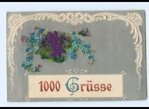 Y6335/ 1000 Grüße, Blüten aus Seide Litho Prägedruck 1907