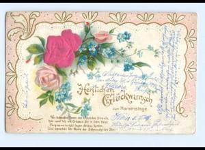 Y6350/ Namenstag, Rosen - Blüten aus Seide Litho Prägedruck 1905