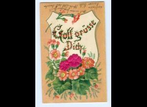 Y6334/ Gott grüße Dich, Blüten aus Seide Litho Prägedruck 1907