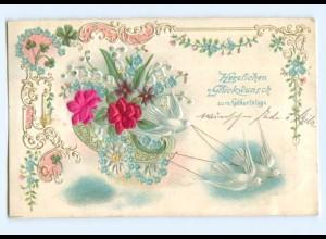Y6332/ Geburtstag Tauben, Blüten aus Seide Litho Prägedruck ca.1908