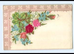 Y6329/ Blumen AK Blüten aus Seide Litho Prägedruck 1904