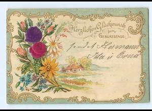 Y6328/ Geburtstag AK Blüten aus Seide Litho Prägedruck 1905