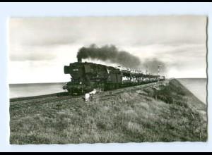 DP270/ Sylt Hindenburgdamm Autozug Eisenbahn Lokomotive AK ca.1960