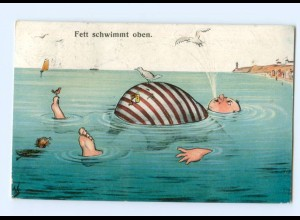 Y6390/ Fett schwimmt oben - dicker Mann im Wasser Humor AK 1924