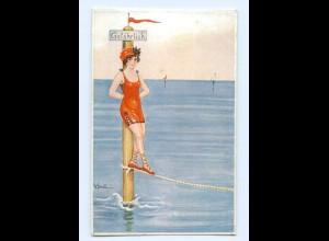Y6177/ W. Scheumann Künstler AK Badeleben junge Frau im Badeanzuig ca.1912