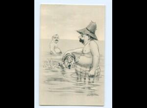 Y6409/ Badeleben alter Mann und Frau Humor AK ca.1912