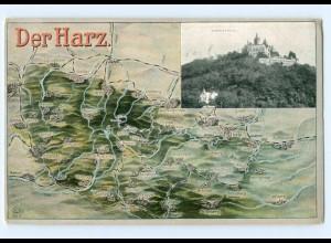 T6242/ Landkarten AK Der Harz Wernigerode ca.1925