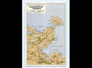 T6241/ Landkarten AK Lübecker Bucht und Fehrmarn AK 1939