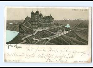 T5845/ Gruß vom Rigi Bergbahn Litho Ak 1896