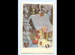 DP302/ Weihnachten Weihnachtsmann Engel Eichhörnchen AK ca.1950