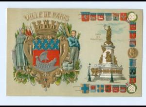 DP293/ Ville de Paris schöne Litho Präge Wappen Ak ca.1905 Frankreich