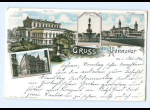 T6436/ Hannover Gruß aus Hannover 1896 Litho AK