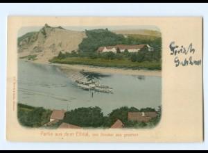T6967-016./ Partie aus dem Elbtal von Diesbad aus Elbdampfer AK 1909