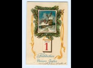 Y6831/ Neujahr Fröhliches neues Jahr Litho Prägedruck AK