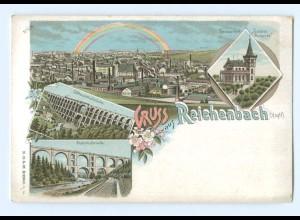 T7396-084./ Reichenbach Gruß aus Reichenbach ca.1900 Litho AK