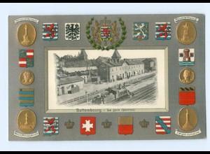 T7632/ Bettembourg La Gare Bahnhof Wappen Prägedruck AK Luxemburg ca.1910