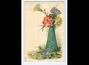 Y6911/ Blumen Blumenvase Litho AK ca.1900