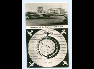 T7101/ Flughafen Frankfurt Main Weltzeituhr AK Flugzeug 1958