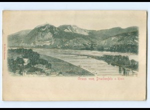 Y6821/ Gruß vom Drachenfels am Rhein Reliefkarte 1907 AK