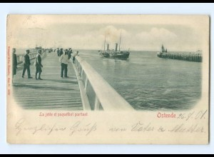 Y6776/ Belgien Ostende La jetée paquetbot partant Reliefkarte 1901 AK