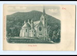 Y6813/ Ems Evangelische Kirche Reliefkarte ca.1900 AK
