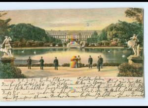 Y6790/ Stuttgart Anlagensee mit Schloss Reliefkarte 1904 AK
