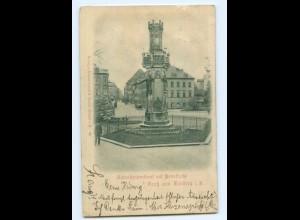 Y6781/ Freiberg Schwedendenkmal mit Peterstraße Reliefkarte 1899 AK