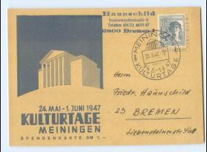 Y6945/ Meiningen Kulturtage 1947 + SST AK Spendenkarte