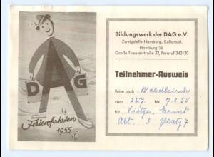 Y7060/ DAG Teilnehmer Ausweis Ferienfahrten 1955
