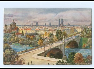 Y6953/ München Brücke Künstler AK R. Wagner ca.1910