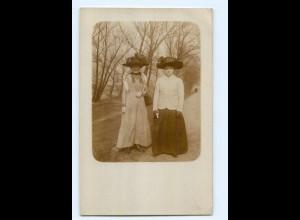 Y6859/ Frauen mit Hut schöne Privat Foto AK ca.1912