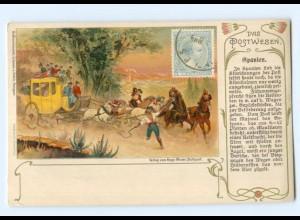 T7572/ Das Postwesen Spanien Postkutsche Litho Ak ca.1900