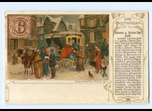 T7571/ Das Postwesen Thurn u. Taxis`sche Post Postkutsche Litho AK 1905
