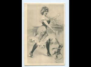 "Y6867/ Junge Frau mit Affe Künstler AK F. Gareis ""Sect"" ca.1900"