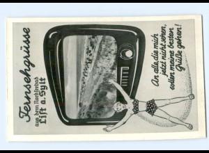 T9655/ Fernsehgrüsse List auf Sylt AK ca. 1955 Fernseher