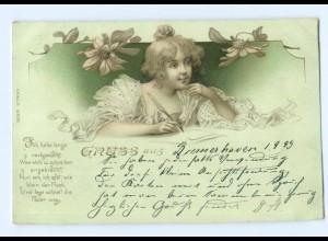 Y7090/ Junge Frau schreibt einen Brief Litho Jugendstil AK 1899