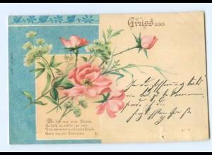 Y7093/ Gruß aus Litho AK Blumen Jugendstil 1901