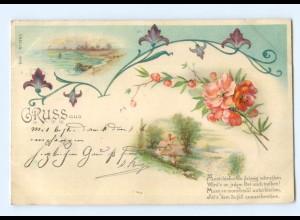Y7094/ Gruß aus Litho AK Blumen Jugendstil 1900