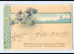 Y7096/ Gruß aus Litho AK Blumen Jugendstil 1900