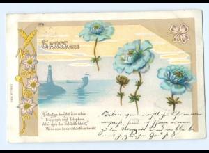 Y7098/ Gruß aus Litho AK Blumen Leuchtturm Jugendstil 1899