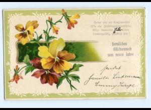 Y7101/ Neujahr Blumen schöne Litho Präge AK 1906