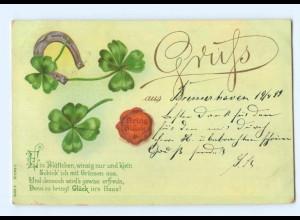 Y7104/ Gruß aus Litho AK Kleeblatt Hufeisen 1899