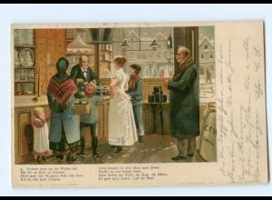 Y7149/ Dat Reiseleben Litho AK Geschäft Laden Verlag: Carl F. Hansen Lübeck 1904